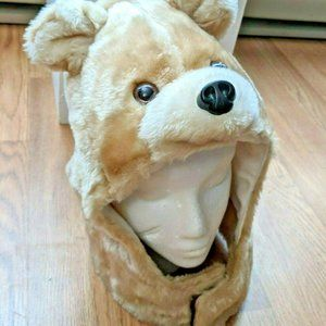 FUN bear stuffed plush animal hat chin strap adult